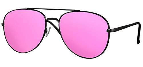 CWI Lunettes de soleil Pilot Cat 3 – Pour femme – Noir mat/rose