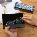 Domybest Étui à Lunettes en Cuir DIY Diamond Painting Mandala Boite à Lunettes avec Fermoir Magnétique pour Femmes Hommes Enfants
