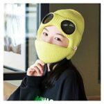 GDYJP Femmes Hommes 2 en 1 Bonnet tricoté côtelé Bonnet Bouche Masque Masque Ensemble Hiver Ski Chaleureux Ski Ski Ski Bouffetté Bouchon oreillette avec Lunettes Lunettes (Color : Khaki)