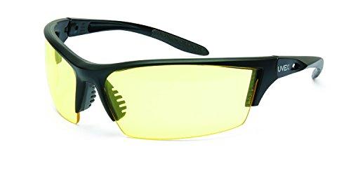 UVEX by Honeywell S2822XP Série Instinct Lunettes de sécurité avec monture noire matte, verres ambre et revêtement Uvextreme Plus AF