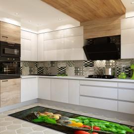 tapis de cuisine avec un decor original representant un panier de legumes