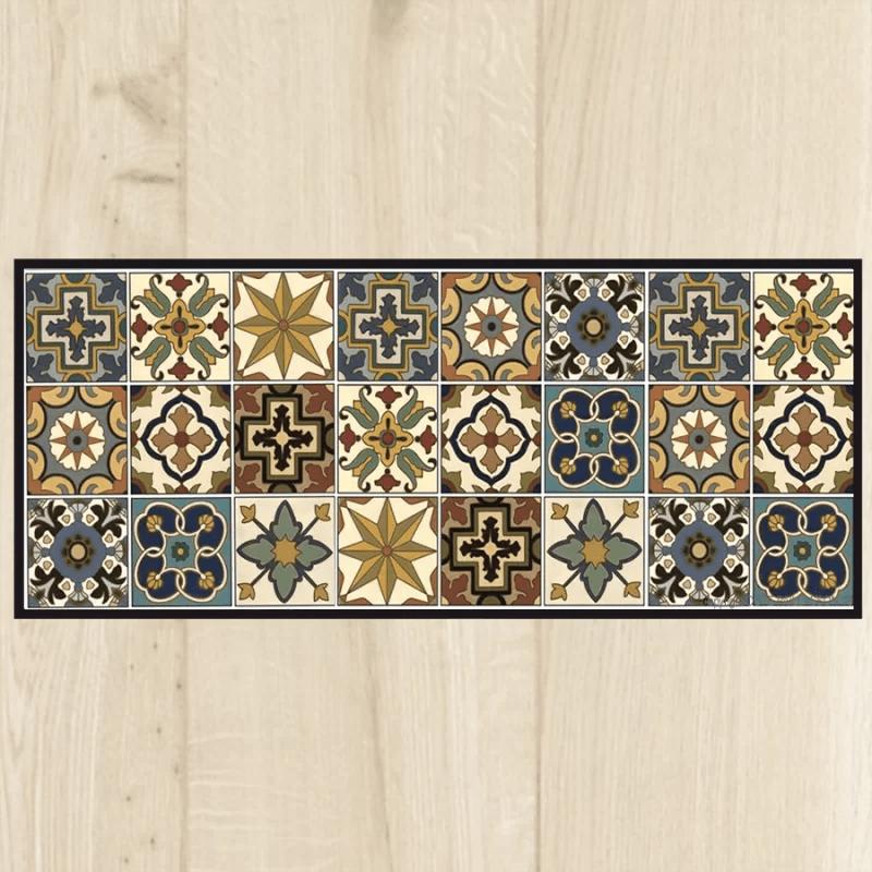 tapis cuisine carreaux vintage multi couleur le vrai carreau design