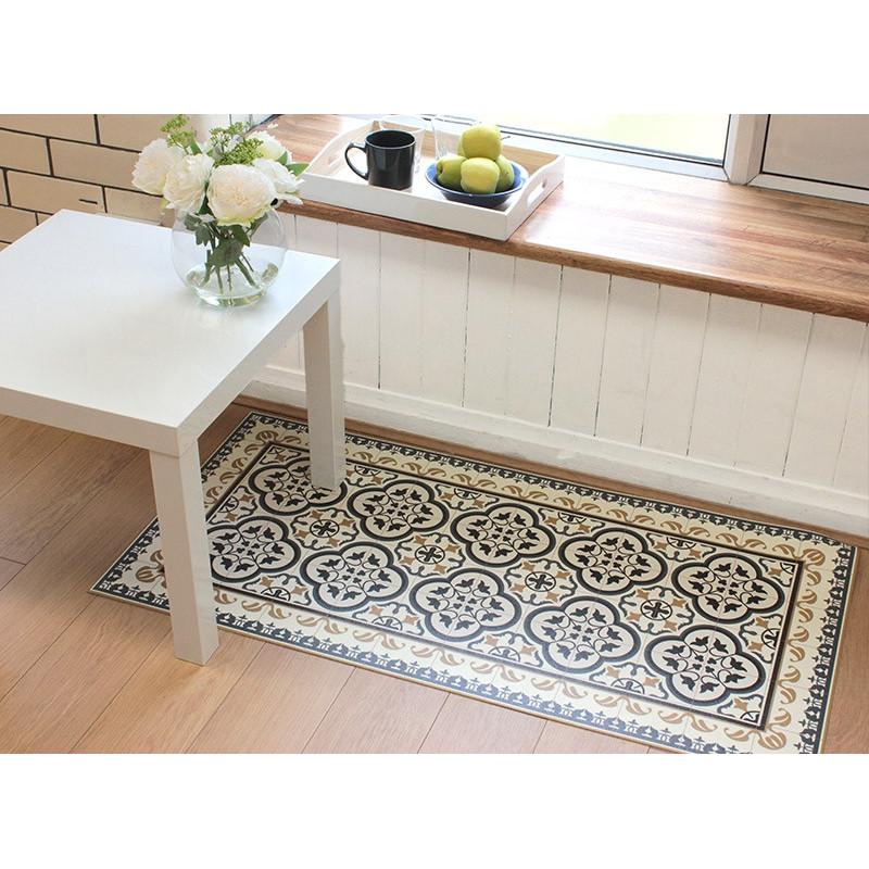 tapis vinyle carreaux beige tapis vinyle 120 cm vinyle cuisine noir et creme