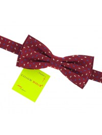 Red bow tie with blue and white droplets