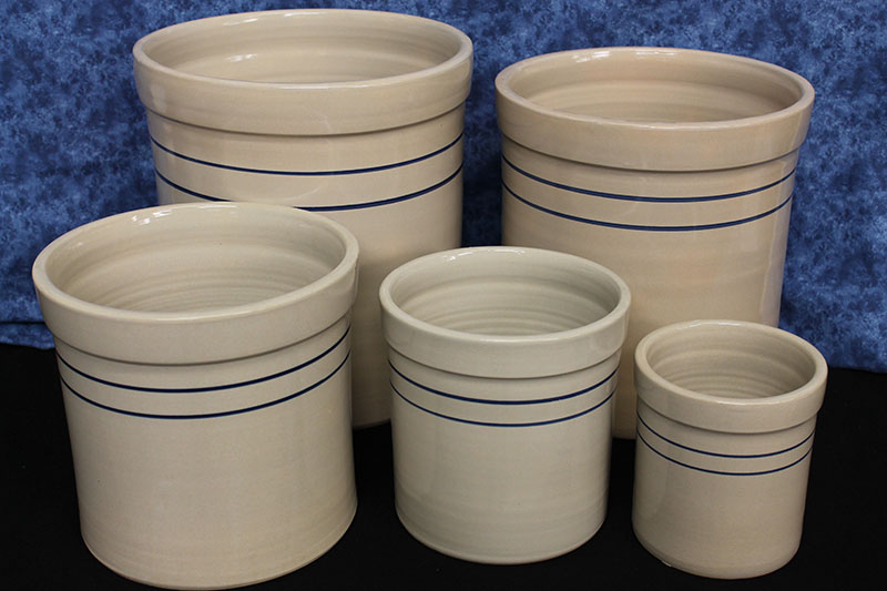 kitchen crocks under cabinet lighting jugs churns usa stoneware pottery food prep