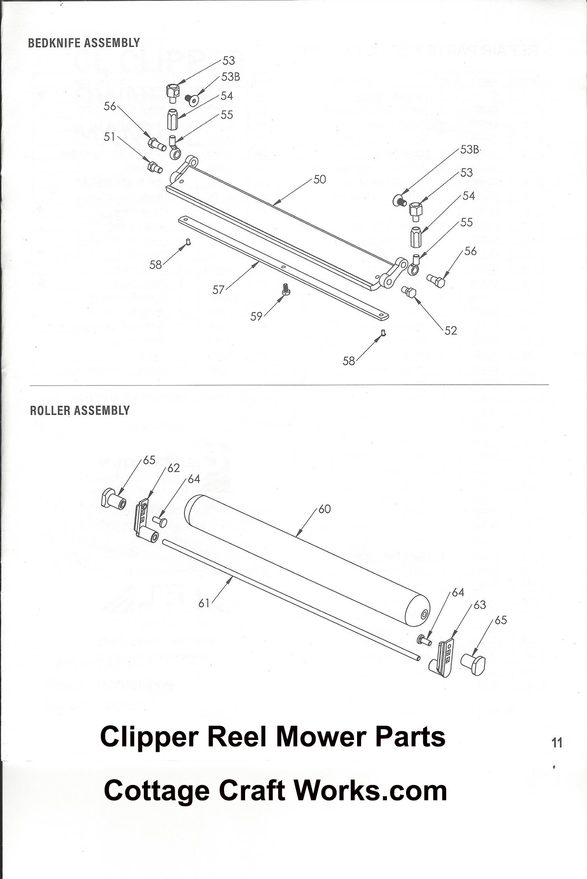 CL Clipper Reel Mower Complete Replacement Parts