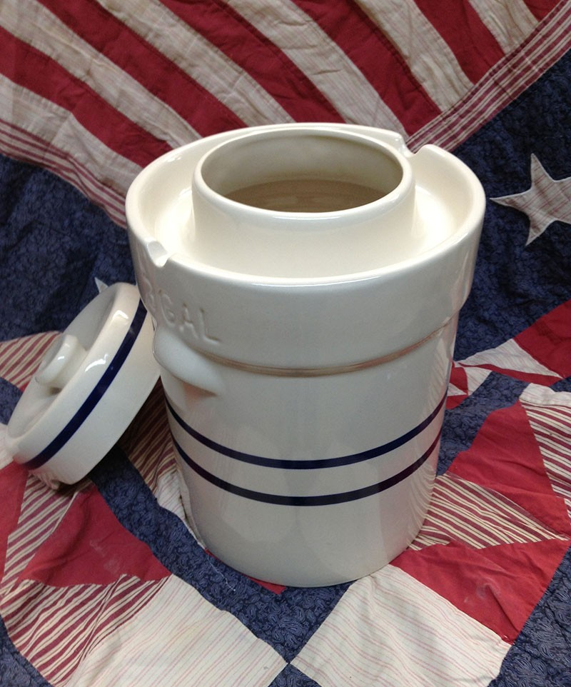 A USA pottery crock designed for preserving food by fermenting