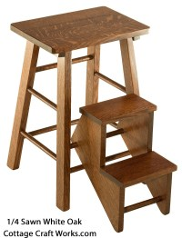 Wooden Folding Step Stool. Vintage Reproduction Amish made