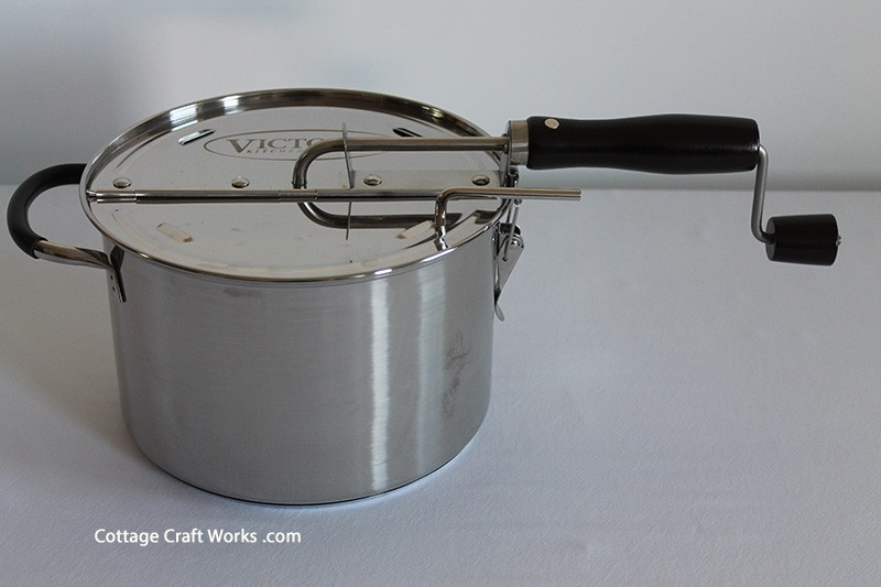 Old Fashioned Stove Top Popcorn Popper Hand Crank SS