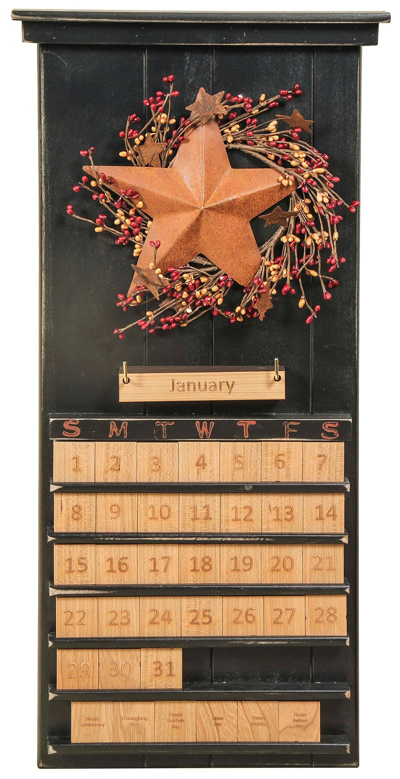 Amish handcrafted perpetual calendar stars  berries theme