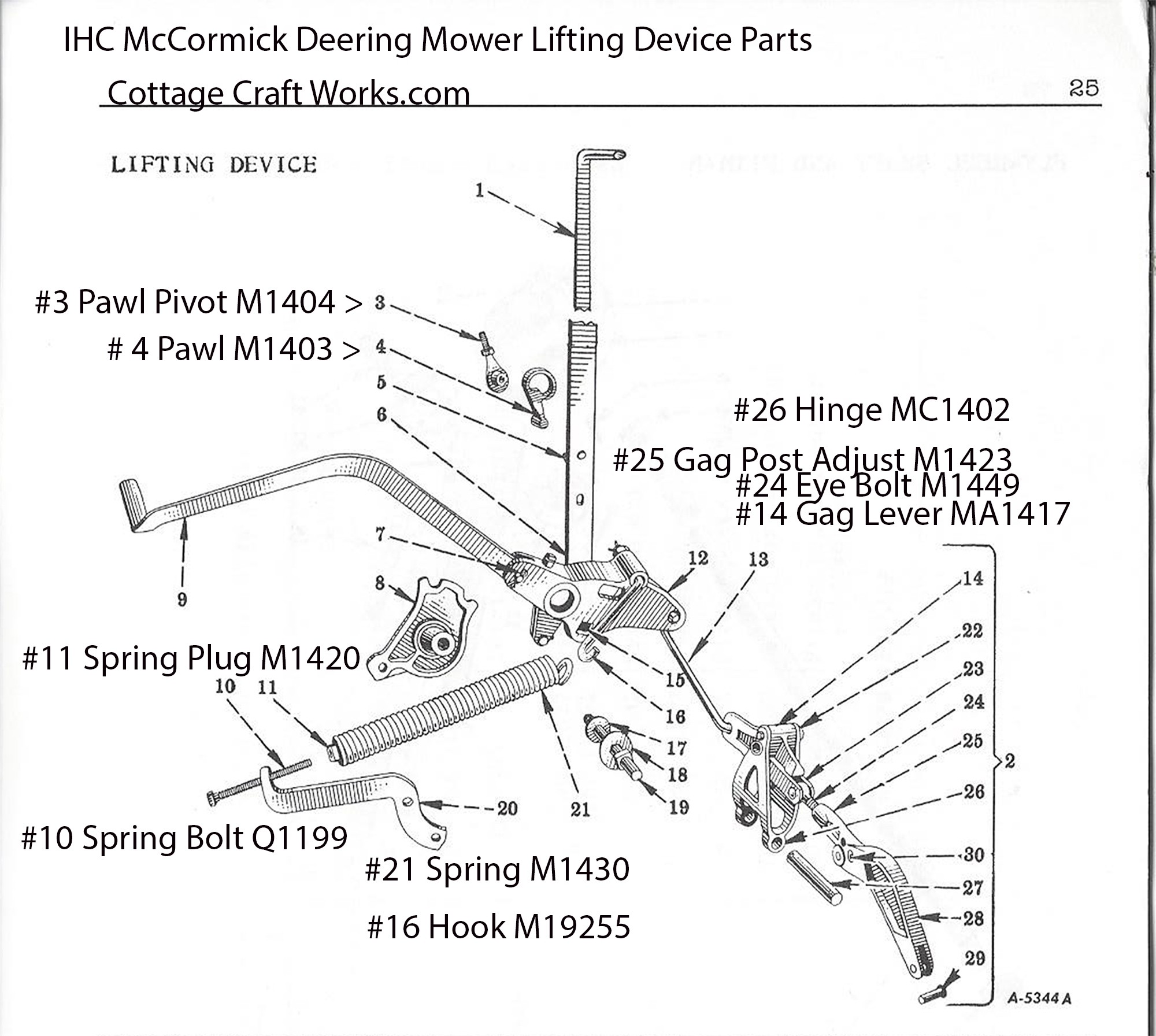 Ihc Mccormick Deering Mower Lifting Device Parts