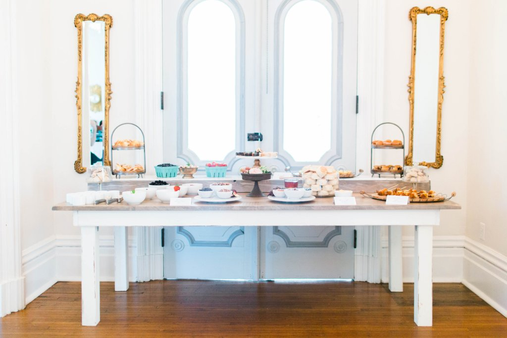 Cottage Luxe Event Rentals Raleigh Signature Farm Table Set up with desserts
