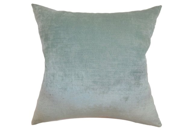 Pillows + Throws + Rugs, Soft Teal Velvet Pillow