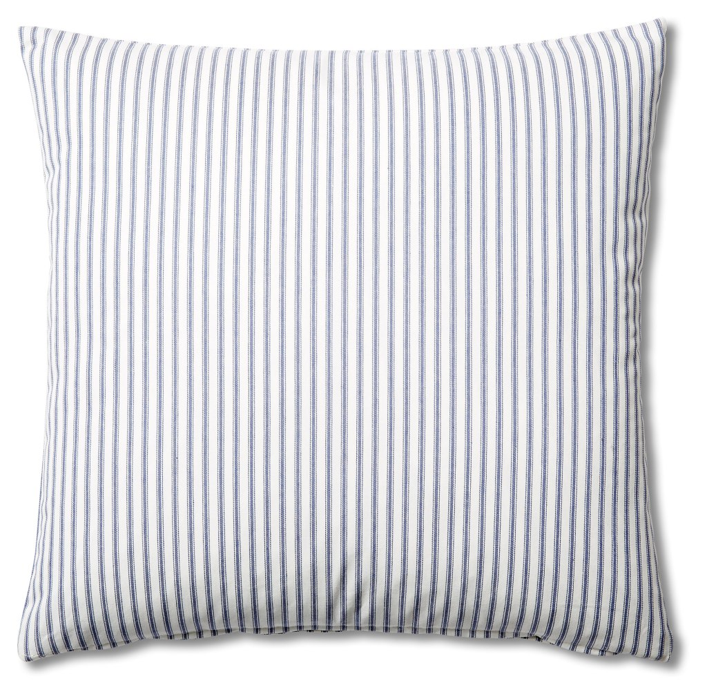 Pillows + Throws + Rugs, White and Navy Blue Ticking Stripe