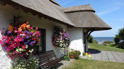Thatcher's Rest Cottage with the flower baskets in full bloom.