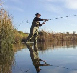 Man fishing on the river Boyne
