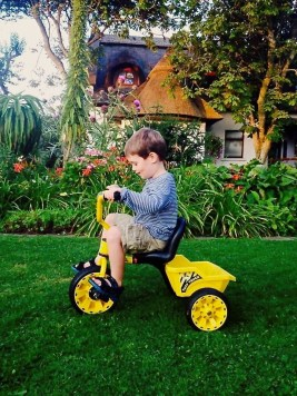 Young boy having fun on a tricycle at the Cottages