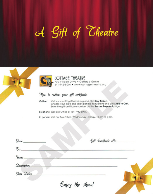 Gift Certificates Cottage Theatre