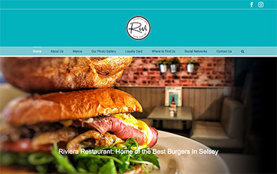 Website for the Riviera Restaurant designed by Cottagewebs