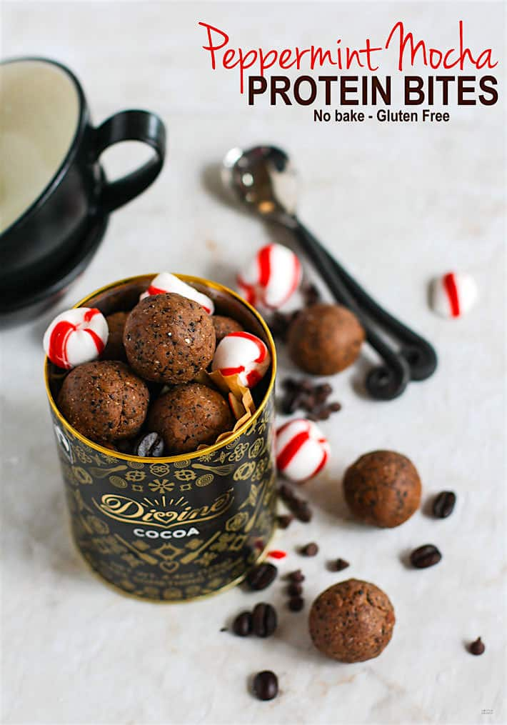 Gluten free and Vegan friendly peppermint mocha protein bites! Grain free , no bake, easy to make, and so tasty for holidays or for healthy dessert! @cottercrunch
