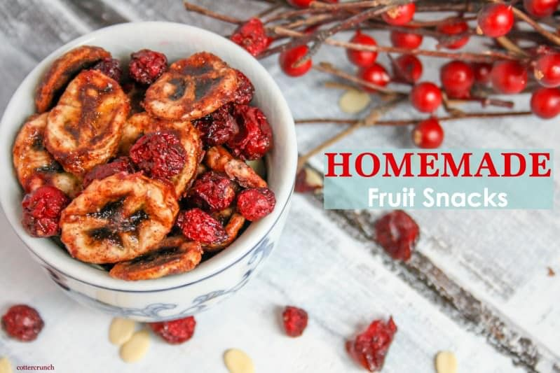 Homemade healthy fruit snacks made two ways, in the dehydrator or the oven. Delicious, naturally lower in sugar, and kid-friendly. They make a great snack!