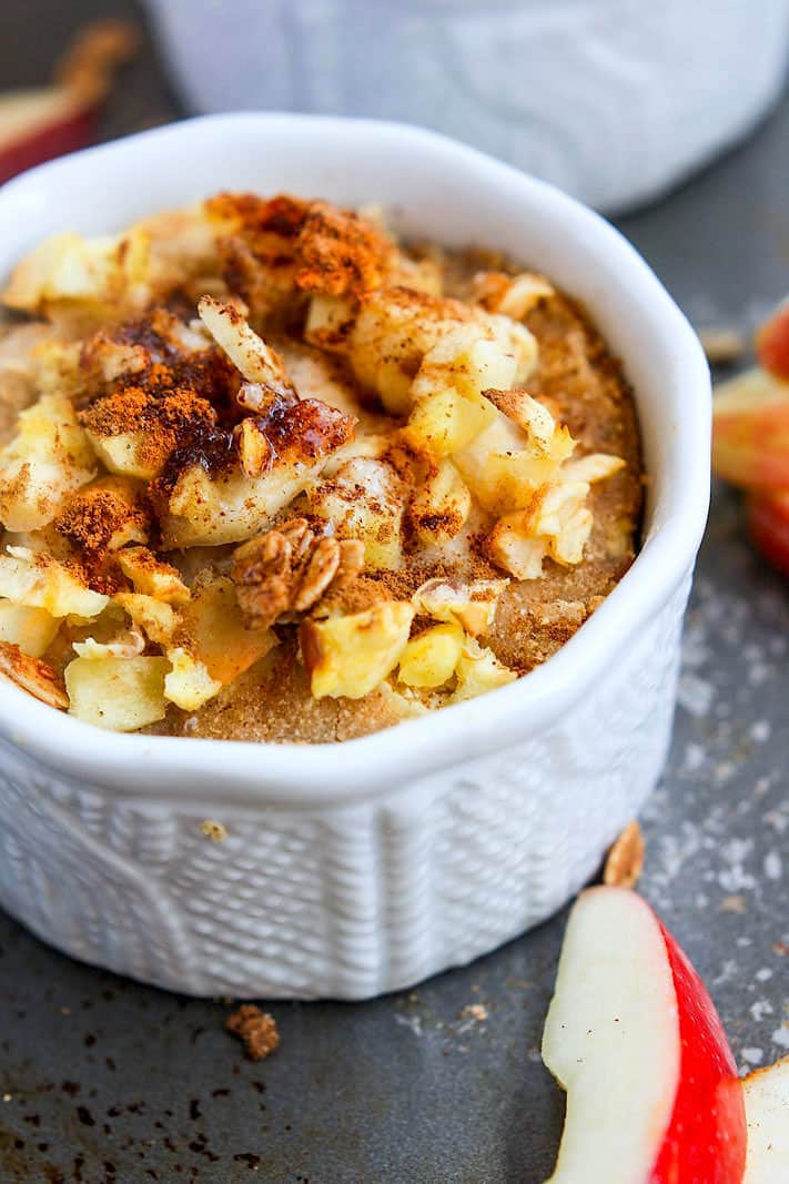 Healthy Spiced Apple Cider Crumble! Made with Apple Cider vinegar, apples, spiced, and more! This Spiced Apple Cider Crumble is Gluten free, dairy free, and paleo friendly! A single serve baked dessert or breakfast that's actually good for your Health! Plus they are easy to make and delicious a la mode. Make one or multiple at a time!
