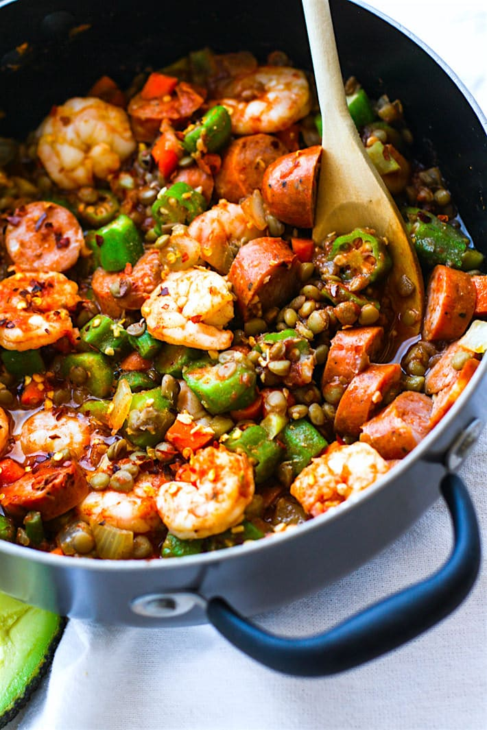 One Pot Grain Free Shrimp Jambalaya Lentil Bowls - instead of rice, use lentils! Soak them beforehand for proper digestion (if time allows).
