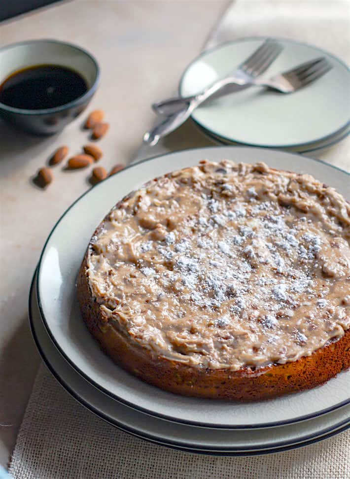 Grain Free White Chocolate Spiced Almond Cake! A healthy holiday twist on the classic almond cake! . A perfect moist cake recipe for those looking to enjoy gluten free desserts.