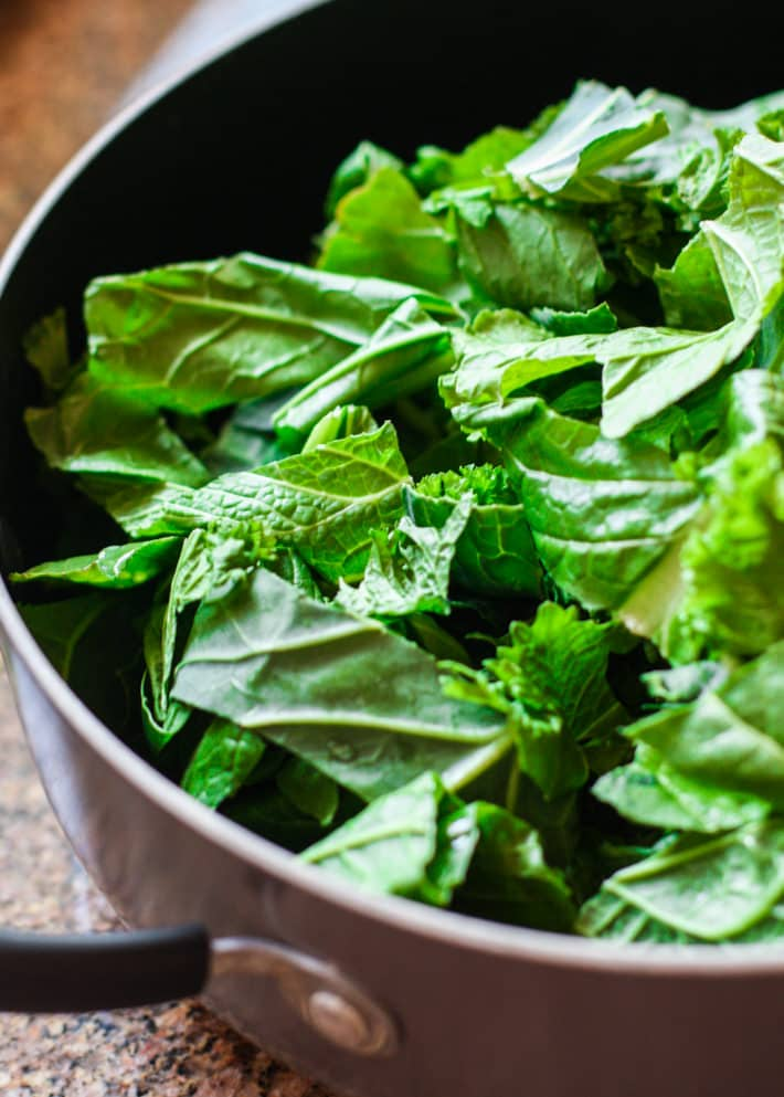 cooked collard greens for power green salad