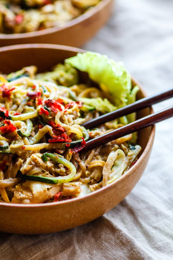 cashew satay spiralized vegetable stir fry. Cashew satay spiralized vegetable stir fry! Easy and Healthy, all in a bowl! Paleo and Vegan.
