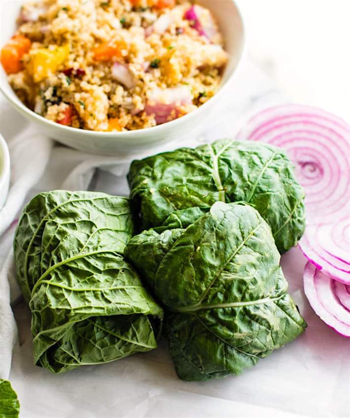 California Quinoa Salad Collard Wraps (Vegan, Gluten Free)