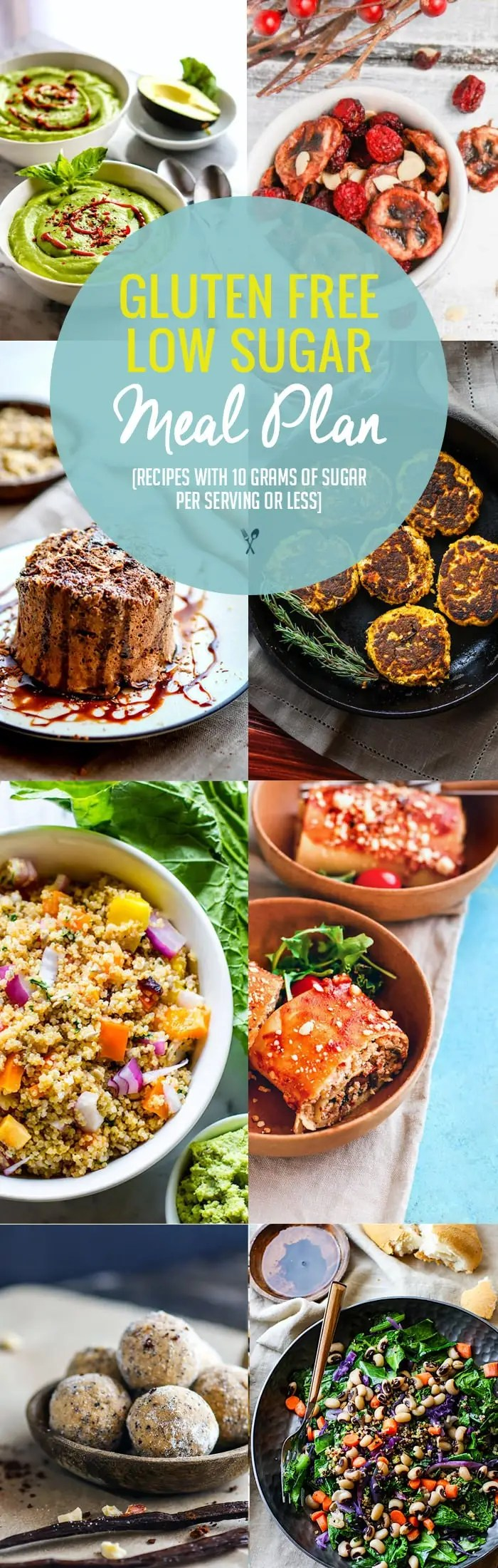 Healthy Lower Sugar Gluten Free Meal Plan Recipes! Snacks/Meals with less than 10 grams sugar per serving. Easy gluten free meal plan ideas to boost health without added sugar or preservatives