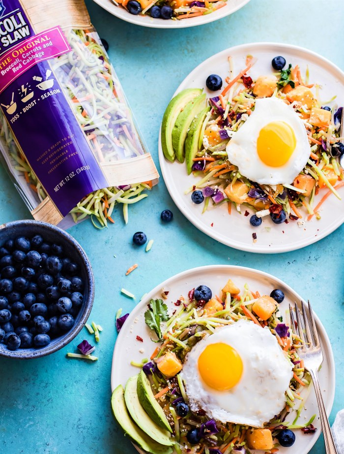 Breakfast salads are the best way to start the day! Create a healthy warm Paleo morning meal with lightly cooked broccoli cole slaw, onion, and squash topped with seasonal fruit and a protein rich fried egg! A nourishing breakfast salad worth waking up for! Easy, delicious, nutritious!