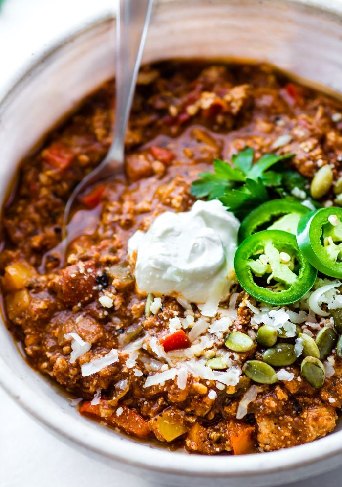 Turkey Chili with a Mexican flare! Quick Sweet Potato Mole Turkey Chili - Paleo friendly, simple to make, and healthy!