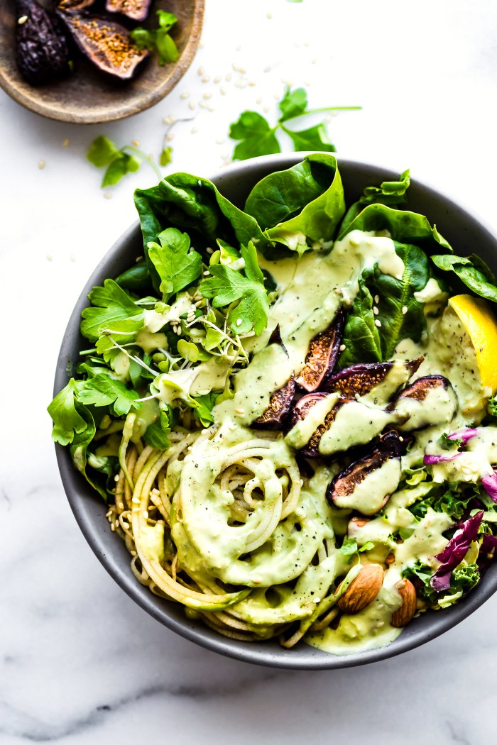 Quick and Easy Green Goddess Fig Nourish Bowls! These plant powered nourish bowls are packed with super greens, healthy fats, and nature's candy (Fruit and Figs). They will fill you up and nourish you all at once. Paleo, Vegan, and Whole 30 friendly!