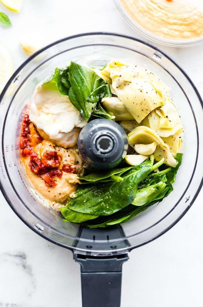 This Warm Mediterranean Spinach Artichoke Hummus Dip.