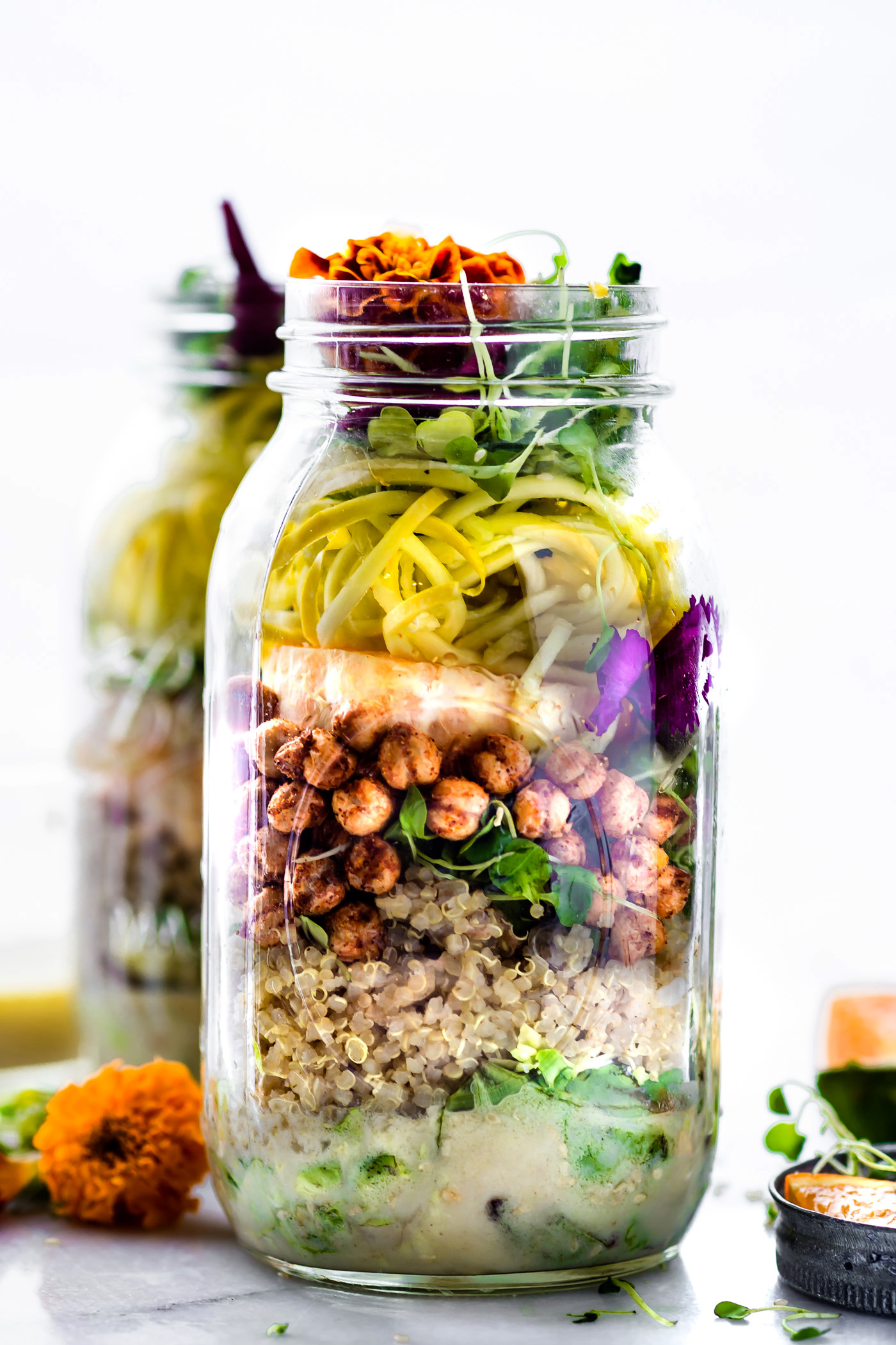 Mason Jar Salads with Sesame Yogurt Dressing Vegetarian