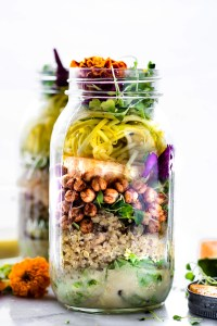 Picnic Ready Mason Jar Salads with Sesame Yogurt Dressing