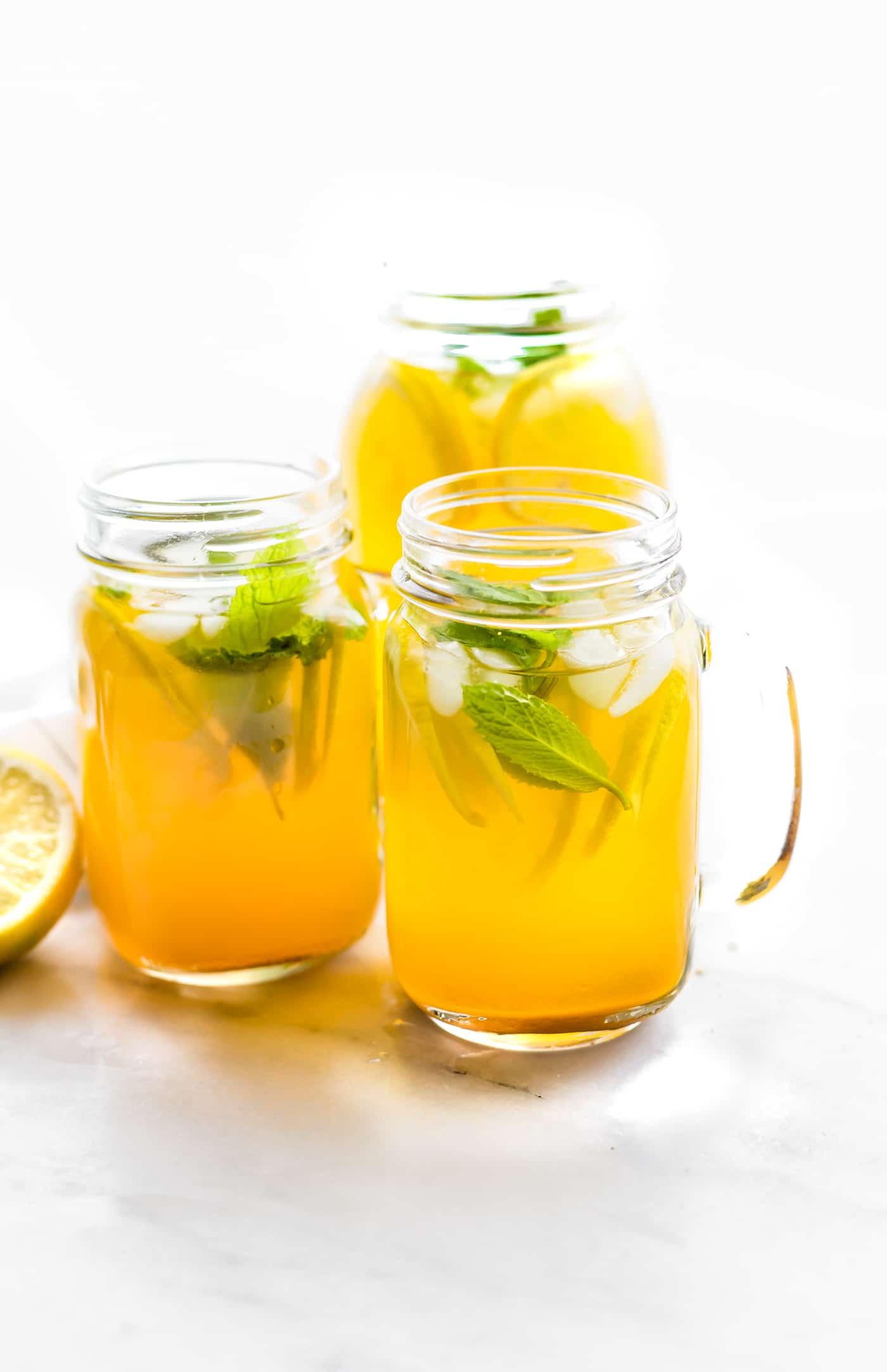 Zingy Turmeric Ginger Lemonade with Mint Paleo Vegan