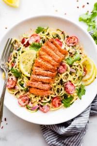 Cajun Smoked Salmon Zucchini Noodles Salad {Paleo}