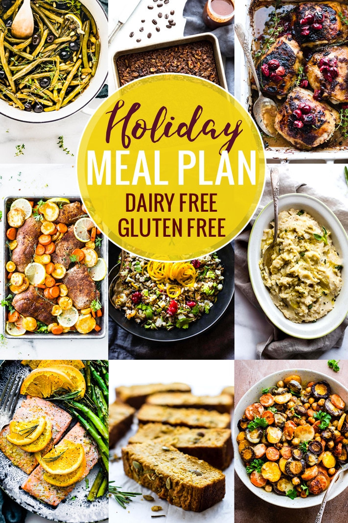 This holiday meal plan is full of gluten free and dairy free holiday recipes.Eating well for the Thanksgiving and Christmas holidays just got a whole lot easier, and this holiday meal plan will help you plan a menu of delicious and healthy holiday meals! #holidays #mealsplan #glutenfree