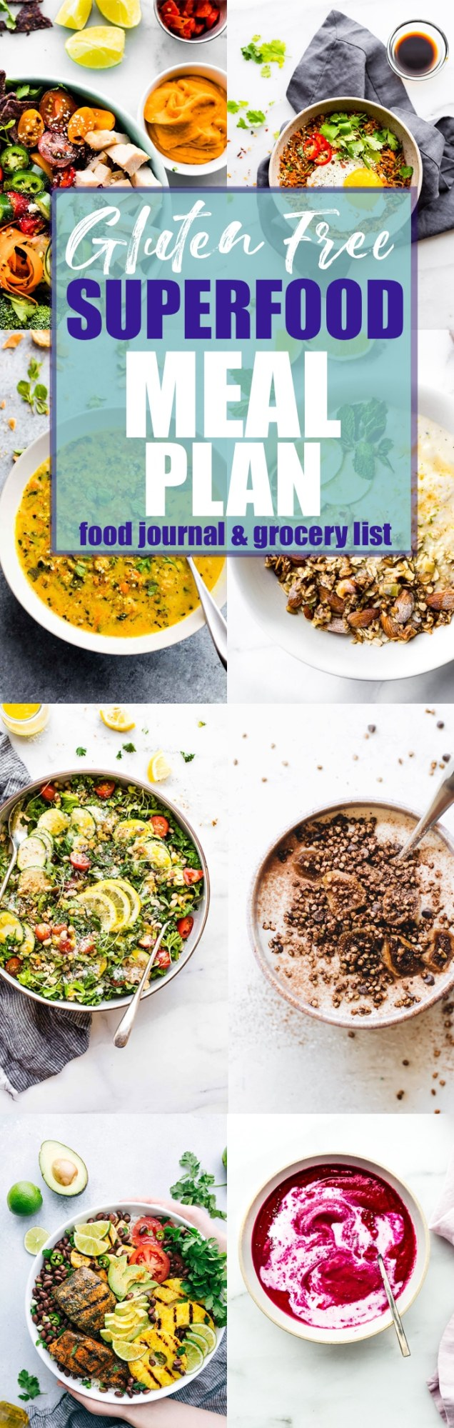 #Superfoods will become your body's best friend when you create and devour the delicious meals in this gluten free superfood meal plan! #mealplan #glutenfree