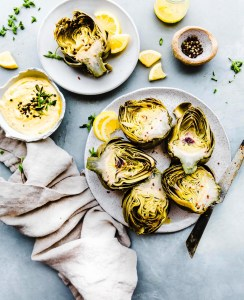 Instant Pot Steamed Artichokes with Mediterranean Aioli