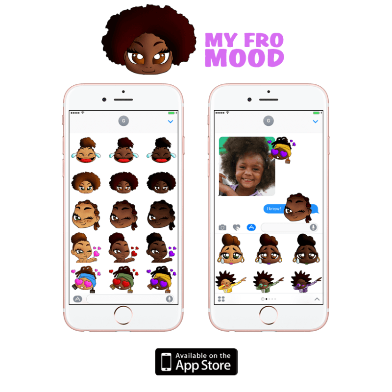 my afro mood stickers ios