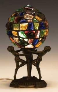 Art Deco Leaded Chunk Glass Lamp with Women   Cottone Auctions