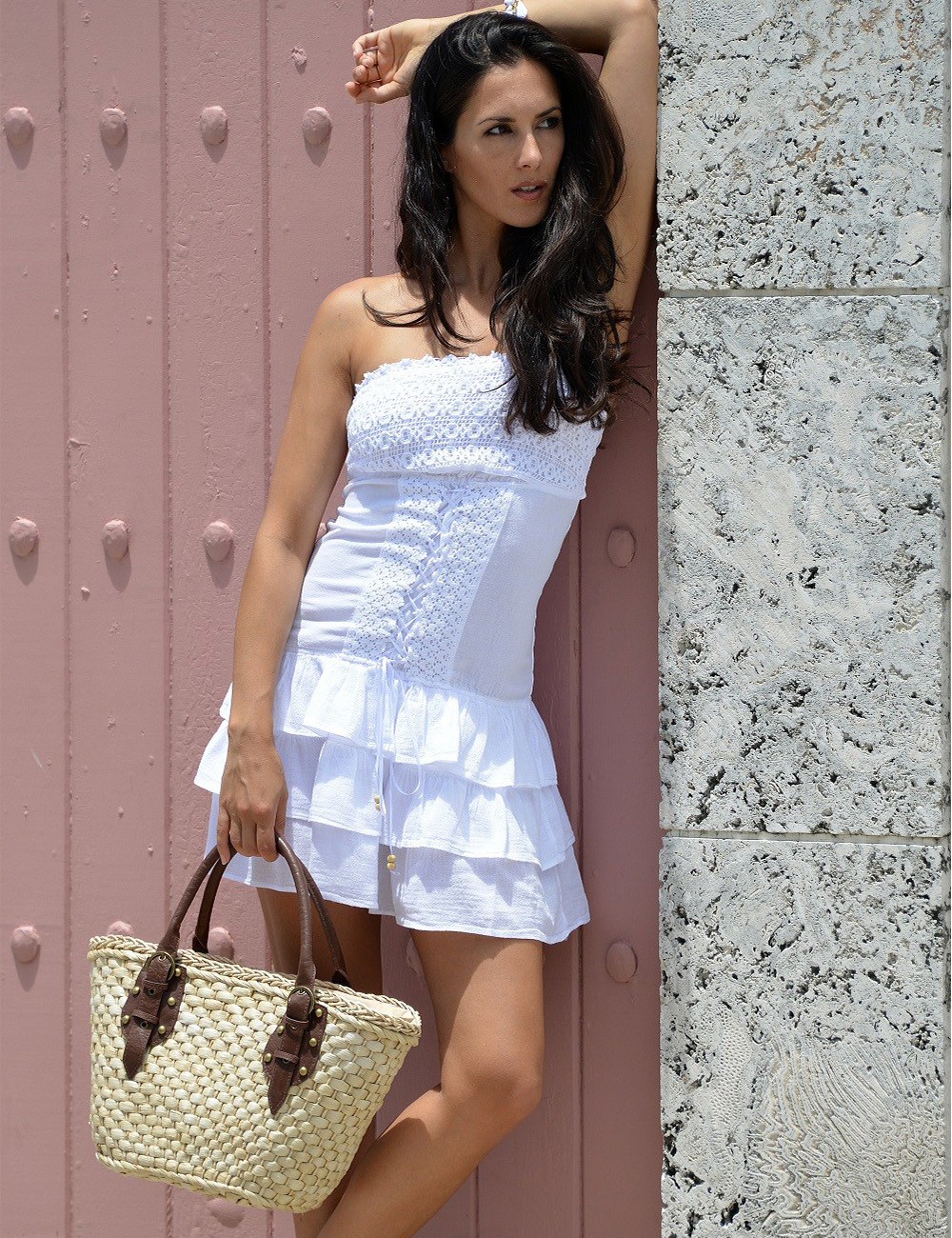 """Bora Bora"" - Short dress with lace - White"
