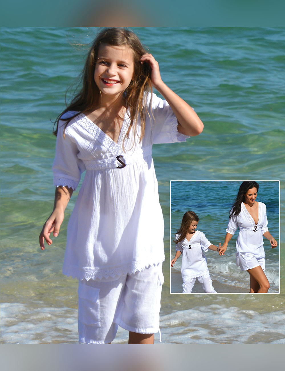Girls V-Neck topcover up with a wood buckle - Cotton Natural