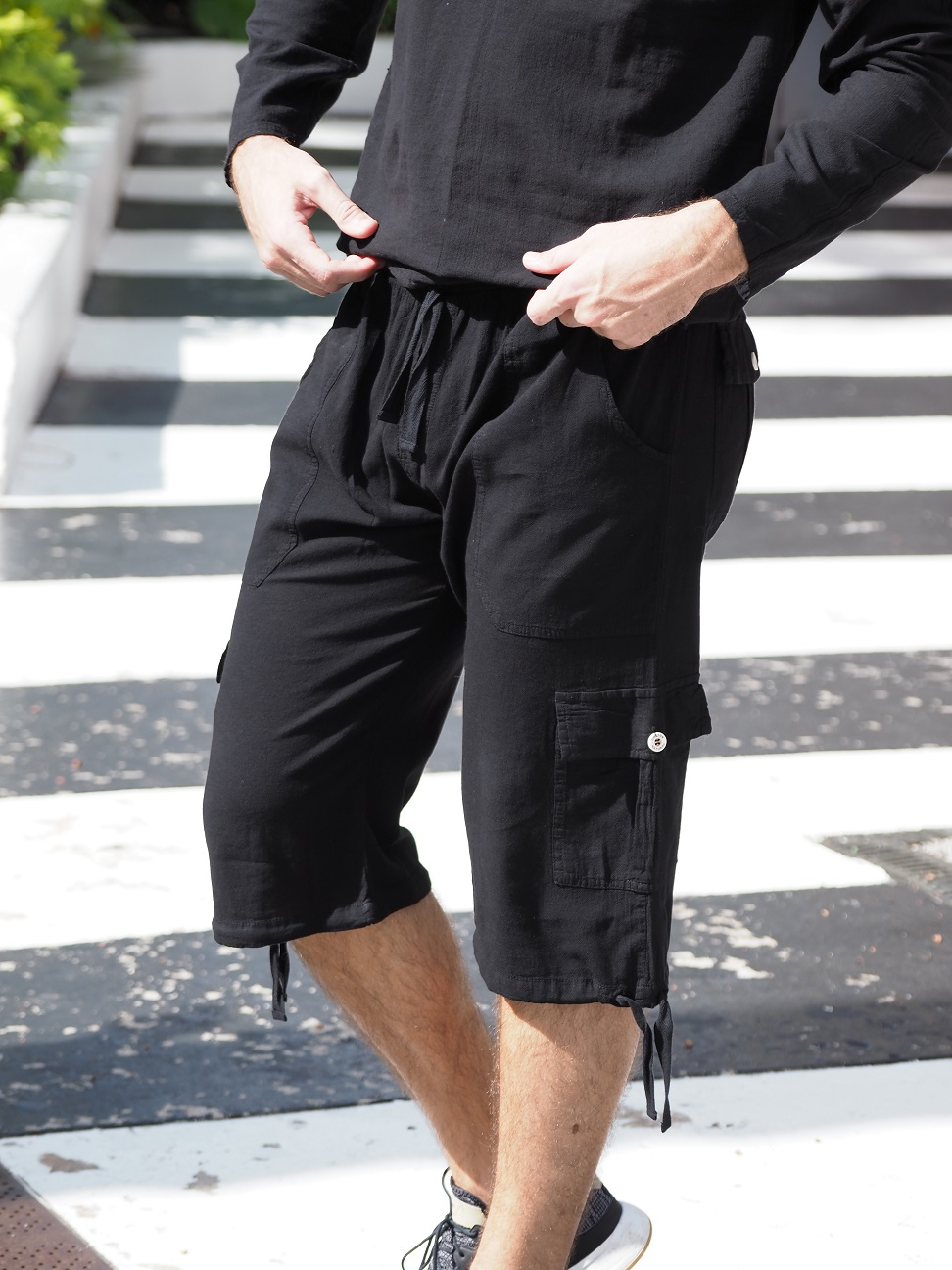 St. John Black Line Shorts