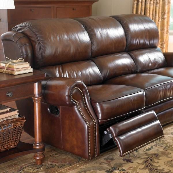 Bassett Leather Sofa with Nailhead Trim