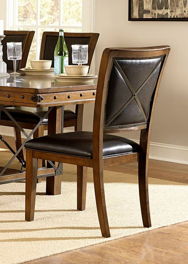 Trestle Dining Table Set Brown